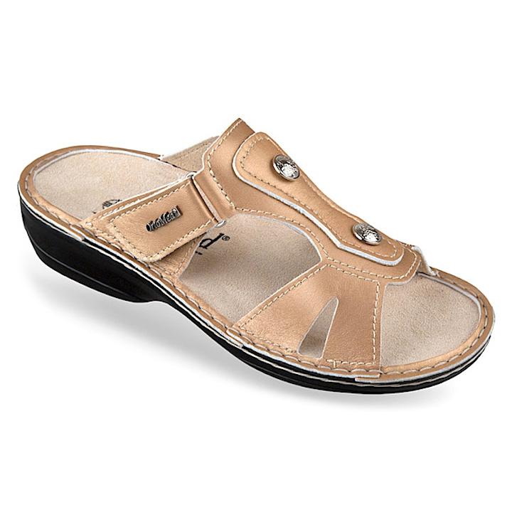 Papuci piele naturala aurii dama OrtoMed 3706-P140