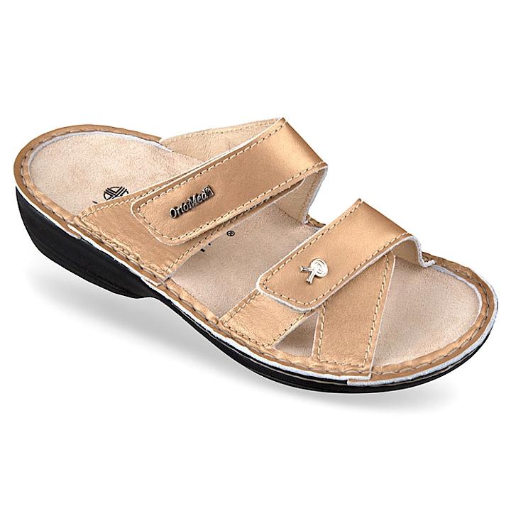 Papuci piele naturala aurii dama OrtoMed 3702-P140