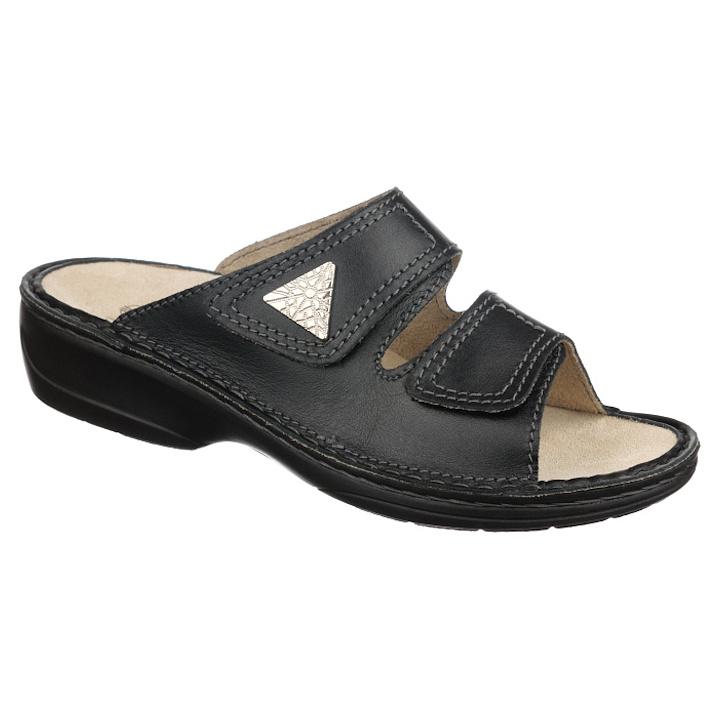 Papuci piele naturala negri dama OrtoMed 3700-P134