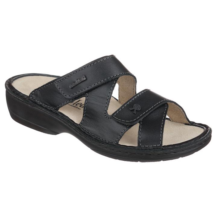 Papuci piele naturala negri dama OrtoMed 3704-P134
