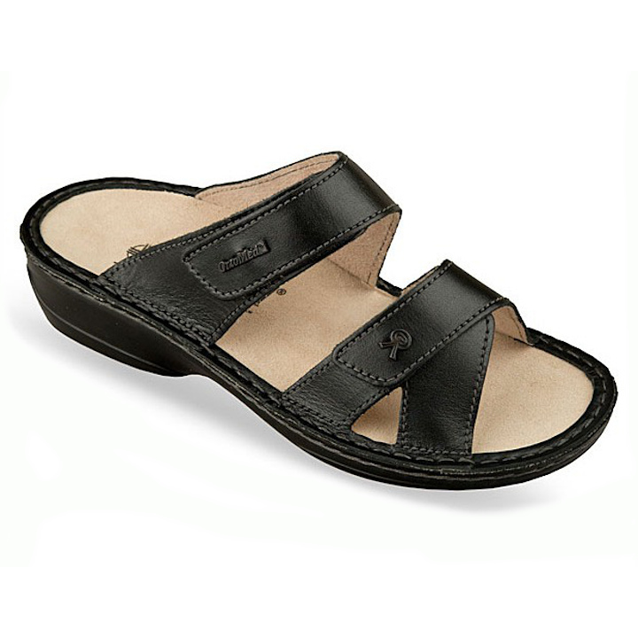 Papuci piele naturala negri dama OrtoMed 3702-P134
